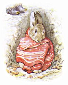 """'The Tale of Benjamin Bunny', 1904 -- Beatrix Potter. """"Peter was sitting by himself. He looked poorly, and was dressed in a red cotton pocket-handkerchief."""""""