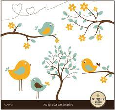 Bird clipart Turquoise Yellow bird bird on tree por GingerWorld