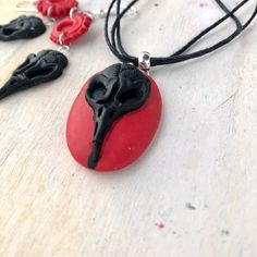 💯% handmade, this red skull pendant necklace and earrings set is made from polymer clay ( fimo ) . The black string is resizable. The one in the photos has 45 cm(17.7 in). Besides the size you choose, every string has extra 5 cm chain for a resizable length. The set contains a pendant necklace and Black Leather Choker, Black Choker Necklace, Skull Necklace, Pendant Necklace, Handmade Shop, Etsy Handmade, Handmade Jewelry, Handmade Gifts, Shopping Mall