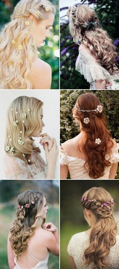 half up half down wedding hairstyles with flowers / http://www.himisspuff.com/bridal-wedding-hairstyles-for-long-hair/2/
