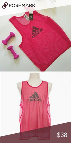 NWT ADIDAS mesh logo tank pink Such a cute addition to your summer wardrobe!  Features a thin mesh with black adidas logo on front Size medium Polyester adidas Tops Tank Tops