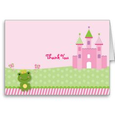 Princess Frog Castle Thank You Note Cards