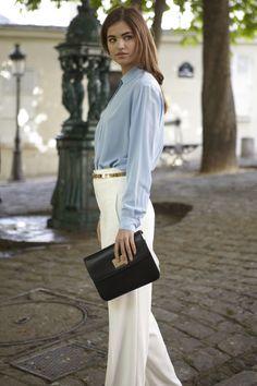 Martha shirt, Preston trousers, Kaylina belt, Anna Lea sandals with Robin www.annefontaine.com #annefontaine #shirt #spring #summer #fashion #montmartre