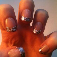 Copper glitter tips.
