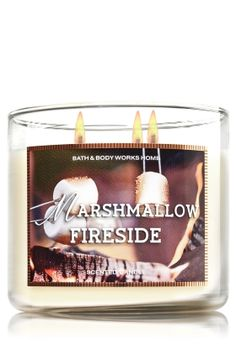 """Marshmallow Fireside - 3-Wick Candle - Bath & Body Works - The Perfect 3-Wick Candle! Made using the highest concentration of fragrance oils, an exclusive blend of vegetable wax and wicks that won't burn out, our candles melt consistently & evenly, radiating enough fragrance to fill an entire room. Burns approximately 25 - 45 hours and measures 4"""" wide x 3 1/2"""" tall."""