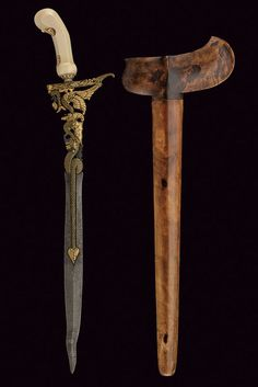"art-of-swords:  "" Kris Dagger  • Dated: 20th century  • Culture: Javanese  • Measurements: overall length 47.5 cm  The dagger has an almost straight, double-edged blade with a curved tip, the first part..."