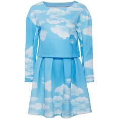 Blue Sky White Clouds Print Two Pieces ($40) ❤ liked on Polyvore featuring dresses, two-piece dresses, blue white dresses, blue dress, 2 piece dress and blue day dress