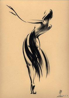 Art by Oleg Eldeukov Music Painting, Sketch Painting, Pencil Art Drawings, Art Sketches, Life Drawing, Figure Drawing, Inspiration Drawing, Mode Poster, Dancing Drawings