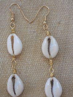 Sold Thanks! Cowrie Shell Earrings Ethnic Earrings by #NorahzCustomJewelryArt