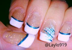 French tip glitter acrylic blue abstract nails