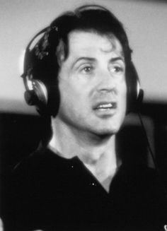 Sly, Sylvester Stallone, black, cool, man, Rocky, perfect, greate, guy, black and white, headphones