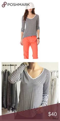 """Camile Striped Top Nautical stripes pattern a figure skimming tee, cut from lightweight jersey. Raglan sleeves lend a casual feel, and ribbed banding trims the soft V neckline. • Soft Joie • Bust 21"""" • Waist 21"""" • Length 27"""" Joie Tops Tees - Long Sleeve"""