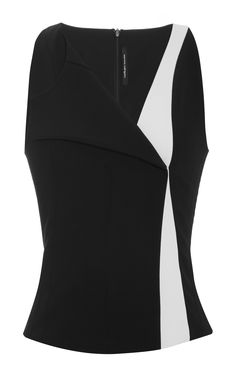 Scuba Crepe Vest In Black And White by Narciso Rodriguez