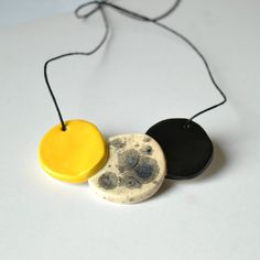 Ceramic statement necklace colourful necklace yellow by islaclay