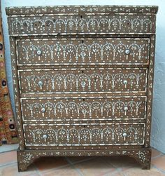 Exquisite Antique Hardwood Syrian Chest Drawers Inlaid Mother of Pearl Intarsia