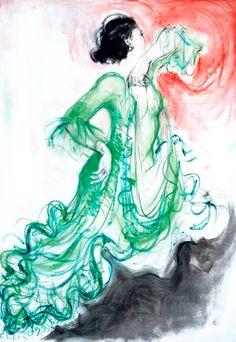 Eva Lefever - Bailaora con fondo rojo I - Óleo sobre tela