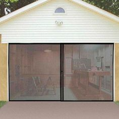 One of the best parts of working in the garage is letting the fresh air roll in but without the bugs that come with it. The Instant Garage Door Screen instantly makes your garage a more enjoyable pla - June 15 2019 at Double Garage Door, Modern Garage Doors, Garage Screen Door, Door Design, Diy Door, Garage Decor, Instant Garage, Garage Door Opener, Doors
