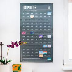 """Poster: """"100 Orte, die du in deinem Leben besuchen solltest"""""""