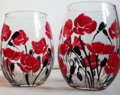 Hand Painted Poppies & Forget-Me-Not Flowers Wine por PritzDesigns
