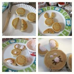 Steps for Making Bunny Pancakes with Aunt Jemima Lil' Griddles from B-InspiredMama.com