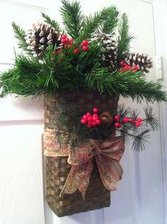 Christmas Cottage Door Decor, Pine Basket Holiday Decor, Pine Christmas Wreath  on Etsy, $60.00
