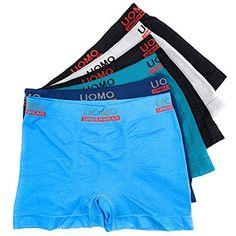 b80b6d5566 Laake 6 Stück Jungen Unterhosen Retro-Pants Boxer Shorts Schlüpfer Uomo  Unifarben Sport #unterwäschedamen