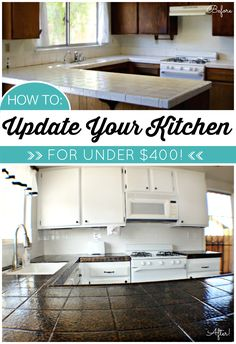 Diy Kitchen Makeover For Less Than 400 Including Painted Countertops And Cabinets Tile Counterspaint