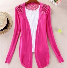 Hot!High Quality Fashion Women Cardigan Lace Sweet Candy Pure Color Sexy Lady Slim Crochet Knit Blouse Sweater Cardigan Coat