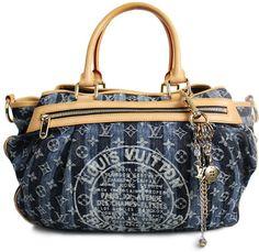 Authentic Louis Vuitton Denim Monogram Porte Epaule Raye GM Bag