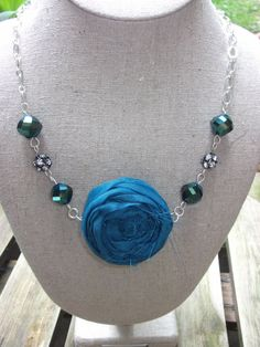 Gorgeous blue flower strand necklace, from Pretty Colleen on Etsy. Faceted Glass, Glass Beads, Fabric Flowers, Blue Flowers, Strand Necklace, Beaded Necklace, Fabric Flower Necklace, Most Beautiful Flowers, Blue Fabric