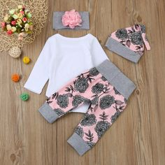Lanhui Newborn Baby Girl Letter Romper Tops Floral Pants Hat Outfits Clothes Set White 6Months *** Click image to review more details.(It is Amazon affiliate link) #BabyGirlClothingCollection