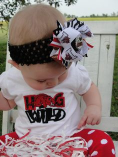 tiny hog fan! Yes mam! Complete with a FancyPants Hair Bow by Holly!! ;)