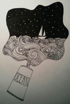#Doodle by @DFlatMajor  #doodling #art #art journal #moleskine art #sea #sail…