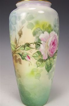 Beautiful Antique Porcelain Vase Hand Painted Victorian Roses Philip Rosenthal  Co. Bavaria circa 1900