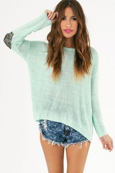 Glam Patched Sweater $58 in Mint http://www.tobi.com/product/51614-tobi-glam-patched-sweater?color_id=69764