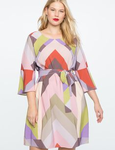 c6c311448cae Printed Flared Sleeve Dress from eloquii.com Sweet Dress