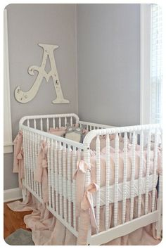Essential Gray by Sherwin Williams - paint color....pink and gray nursery, baby girl, love the bedding