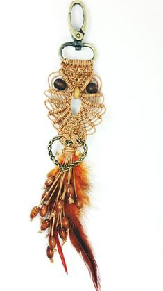 Leather Macrame owl keyring  Leather Keyring  Owl от Myowlmacrame, $20.00