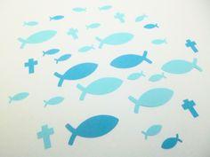 Streu Deko zur Taufe Kommunion & Konfirmation blau ca. 130 Teile       Streu Teile aus Ton Karton & Ton Papier    2 farbig     hell & dunkel blau  ...