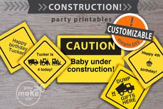CUSTOMIZABLE construction party signs! make your own construction party theme for birthday parties and baby showers! Use these construction party signs to add welcome signs, gift table signs, food table signs, game station signs, and more! Easy DIY customization! Simply click on your printables, type your message, and save or print! Make as many different signs and messages as you wish! Instant downloads designed by a New York Times bestselling children's book illustrator.  | you make do ® |
