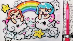 ♥ Girls in the Kawaii Sky ♥ Hello Doodles ♥ Easy Drawings by Garbi KW