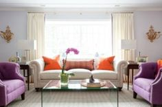 Best Home Tours - Cameron Hackett - Living Room, purple and orange pops of color