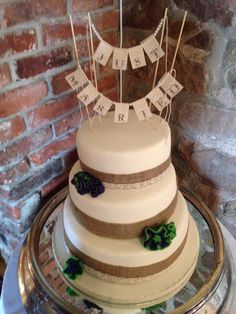 Gorgeous Natural Hessian & Lace Detailed 3 Tier Wedding Cake... A Perfect Choice For A Spring Wedding.