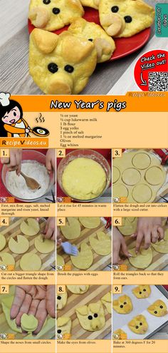 New Year& Pig recipe with video party recipes - Try these delicious New Year& pigs and delight your guests. You can easily find the New Year& - Quick Dessert Recipes, Quick Easy Desserts, Easy Meals, Party Recipes, Recipes Dinner, Margarine Recipe, Drink Party, Make Your Own Cookbook, Milk Dessert