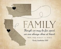 Family Gift Ideas, Long Distance Maps, Any Maps, California Map, Washington Map, State Maps, Family, Mom Gift Idea, Anniversary, Retirement