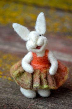Felt animals Big Bunny with long ears Baby shower Easter Rabbit Needle felt-Wool felt Handmade Easter decorations Ethical
