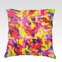 THE FLOCK Neon Art Velveteen Throw Pillow Cover 18x18 Decorative Home Decor Colorful Fine Art Toss Cushion, Modern Bedroom Bedding Dorm Room Living Room Style Accessories by EbiEmporium, $75.00