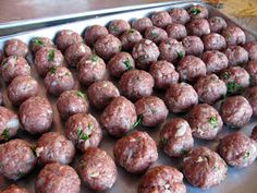 Meatball recipe-- These meatballs were easy to make. I am making more and freezing them so I will have them on hand. I do not like store bought frozen meatballs. recipe made 27 meatballs @ each Meat Recipes, Dinner Recipes, Cooking Recipes, Meatball Recipes, Simple Meatball Recipe, Barbecue Recipes, Cooking Tips, Recipies, Beef Dishes