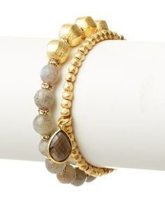 Diane Yang Designs Labradorite and Smoky Quartz Stretchy Bracelet Set at MYHABIT  68