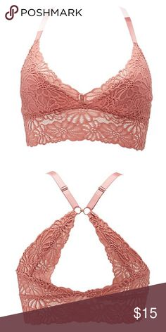 Plus Size Lace Longline Bralette Lovely floral lace sculpts this beautiful bralette! Lined in front and sheer everywhere else, scalloped trim is super sweet at the edges! Runs small imo. Color true to stock photos. I'd say it's like a dusty rose color.   Cups are lined Removable padding Straps are adjustable (can be worn regular or racerback style) Intimates & Sleepwear Bras